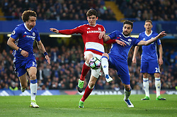 May 8, 2017 - Chelsea, Greater London, United Kingdom - L-R Chelsea's David Luiz, Marten de Roon of Middlesbrough and Chelsea's Cesc Fabregas.during Premier League match between Chelsea and Middlesbrough at Stamford Bridge, London, England on 08 May 2017. (Credit Image: © Kieran Galvin/NurPhoto via ZUMA Press)
