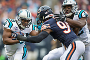 CHICAGO, IL - OCTOBER 22:  Jonathan Stewart #28 of the Carolina Panthers runs the ball during a game against the Chicago Bears at Soldier Field on October 22, 2017 in Chicago, Illinois.  The Bears defeated the Panthers 17-3.  (Photo by Wesley Hitt/Getty Images) *** Local Caption *** Jonathan Stewart