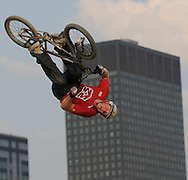 Cameron White competes at the AST Dew Tour Right Guard Open BMX Dirt Finals Friday, July 18, 2008 in Cleveland, OH. White won the competition.