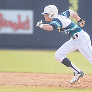 UNCW's Steven Linkous runs to second base agains Wake Forest Sunday February 22, 2015 during the Hughes Brothers Challenge at Brooks Field. (Jason A. Frizzelle)