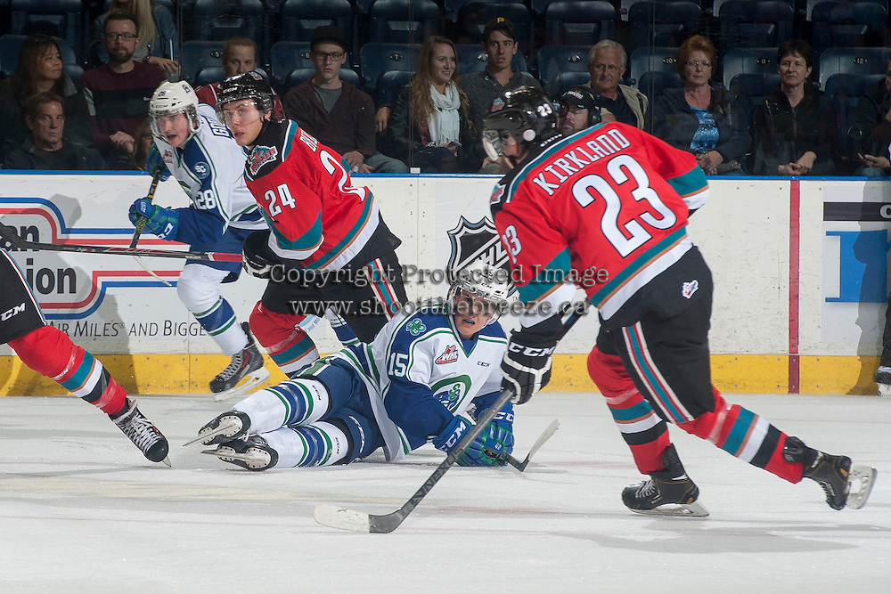 KELOWNA, CANADA - OCTOBER 7: Tyson Baillie #24 of Kelowna Rockets skates up ice against the Swift Current Broncos on October 7, 2014 at Prospera Place in Kelowna, British Columbia, Canada.  (Photo by Marissa Baecker/Getty Images)  *** Local Caption *** Tyson Baillie;