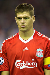 LIVERPOOL, ENGLAND - Wednesday, September 16, 2009: Liverpool's captain Steven Gerrard MBE before the UEFA Champions League Group E match against Debreceni at Anfield. (Photo by David Rawcliffe/Propaganda)