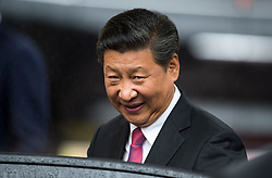 © Licensed to London News Pictures. 21/10/2015. London, UK. Chinese president  XI JINPING leaving the event by car. CATHERINE, Duchess of Cambridge, and PRINCE WILLIAM, Duke of Cambridge accompanied Chinese president  XI JINPING and his wife PENG LIYUAN as they attend Creative Collaborations event at Lancaster House in London, as part of the Chinese state visit to the uk. The couples were shown a new Aston Martin DB10 from the Spectre James bond film and new London Bus and taxi transports.  Photo credit: Ben Cawthra/LNP