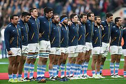 The Argentina team sing their national anthem - Mandatory byline: Patrick Khachfe/JMP - 07966 386802 - 11/11/2017 - RUGBY UNION - Twickenham Stadium - London, England - England v Argentina - Old Mutual Wealth Series International