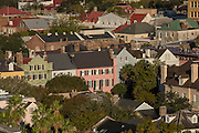 Aerial view of Rainbow Row Charleston, South Carolina.