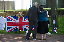 Flowers at the entrance to the Barracks in memory of Drummer Lee Rigby, Woolwich Barracks, South London, <br /> Friday, 31st May 2013<br /> Picture by i-Images