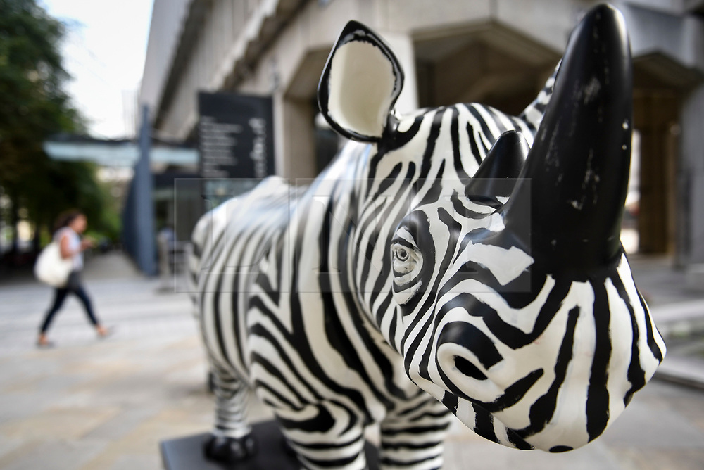**CAPTION CORRECTION - Rhino statues are 750mm tall, not 750cm tall, as stated in previous captions**<br /> © Licensed to London News Pictures. 20/08/2018. LONDON, UK. Office workers pass by 'Freddie', a rhino painted by Glen Baxter, outside Guildhall.  At 750mm tall and weighing 300 kg, each rhino has been specially embellished by an internationally renowned artist.  21 rhinos are in place at a popular location in central London, forming the Tusk Rhino Trail, until World Rhino Day on 22 September to raise awareness of the severe threat of poaching to the species' survival.  They will then be auctioned by Christie's on 9 October to raise funds for the Tusk animal conservation charity.  Photo credit: Stephen Chung/LNP