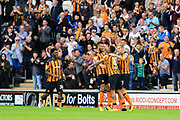 Hull City striker Abel Hernandez (10) scores a goal to make the score 1-0 and celebrates with team-mates during the EFL Sky Bet Championship match between Hull City and Burton Albion at the KCOM Stadium, Kingston upon Hull, England on 12 August 2017. Photo by Richard Holmes.