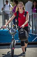 Women Elite #155 (MECHIELSEN Drew) CAN arriving on race day at the 2018 UCI BMX World Championships in Baku, Azerbaijan.