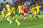 Bristol City's Ryan Fredericks carves through the Leeds defence during the Sky Bet Championship match between Bristol City and Leeds United at Ashton Gate, Bristol, England on 19 August 2015. Photo by Shane Healey.
