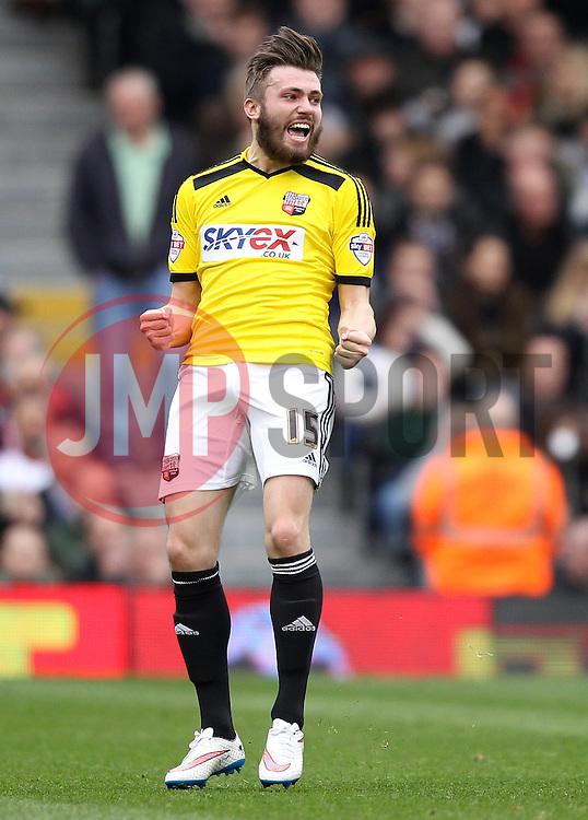 Brentford's Stuart Dallas celebrates - Photo mandatory by-line: Robbie Stephenson/JMP - Mobile: 07966 386802 - 03/04/2015 - SPORT - Football - Fulham - Craven Cottage - Fulham v Brentford - Sky Bet Championship
