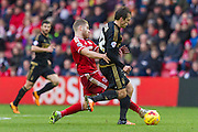 Middlesbrough FC midfielder Adam Clayton (8) tackles Nottingham Forest midfielder Gary Gardner (22) during the Sky Bet Championship match between Middlesbrough and Nottingham Forest at the Riverside Stadium, Middlesbrough, England on 23 January 2016. Photo by George Ledger.