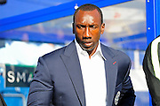 Queens Park Rangers manager Jimmy Floyd Hasselbaink during the EFL Sky Bet Championship match between Queens Park Rangers and Reading at the Loftus Road Stadium, London, England on 15 October 2016. Photo by Jon Bromley.
