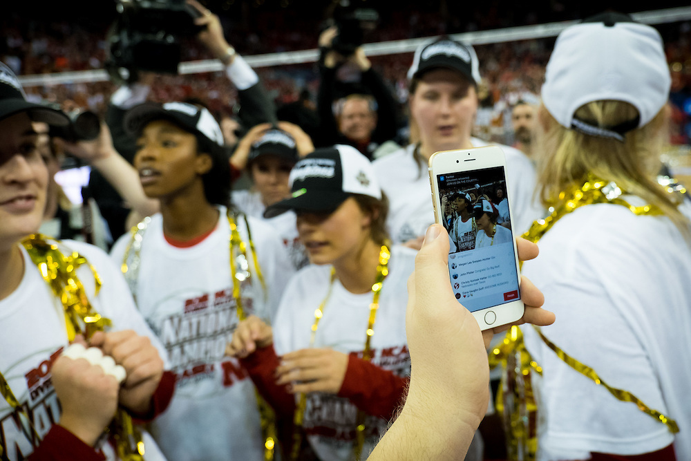 OMAHA, NE - DECEMBER 19: The Nebraska Cornhuskers Periscope their celebration after winning the NCAA finals match against the Texas at the CenturyLink Center on December 19, 2015 in Omaha, Nebraska.  (Photo by Eric Francis)
