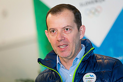 Enzo Smrekar during Arrival of Jakov Fak, Silver medalist at Olympic Games in Pyeongchang 2018, on February 25, 2018 in Aerodrom Ljubljana, Letalisce Jozeta Pucnika, Kranj, Slovenia. Photo by Ziga Zupan / Sportida