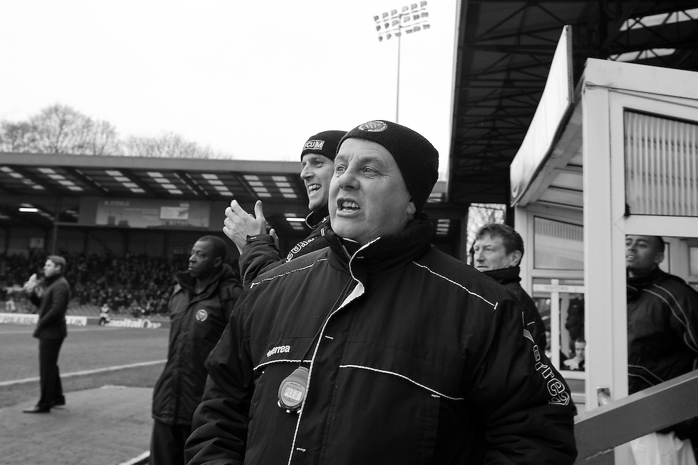 FC United of Manchester play a local team Chorley at Bury football club's ground in Lancashire, Britain. Photo shows FC United of Manchester officials during the match.