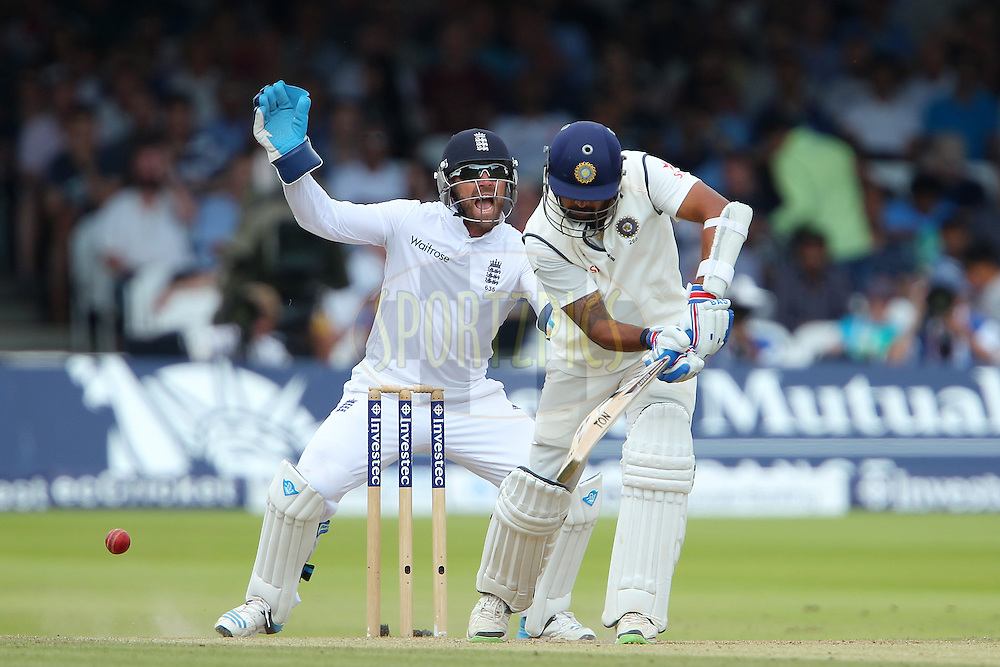Matt Prior of England appeals for the wicket of  Murali Vijay of India during day three of the 2nd Investec test match between England and India held at Lords cricket ground in London, England on the 19th July 2014<br /> <br /> Photo by Ron Gaunt / SPORTZPICS/ BCCI