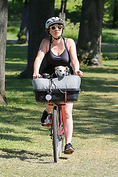 © Licensed to London News Pictures. 20/05/2020. London, UK. A cyclist with a dog in a basket in Markfield Park, Tottenham, north London on a warm and sunny day in London. The government has relaxed the rules on the COVID-19 lockdown, allowing people to spend more time outdoors whilst following social distancing guidelines. According to the Met Office, 27 degrees celsius is forecast for today.  Photo credit: Dinendra Haria/LNP