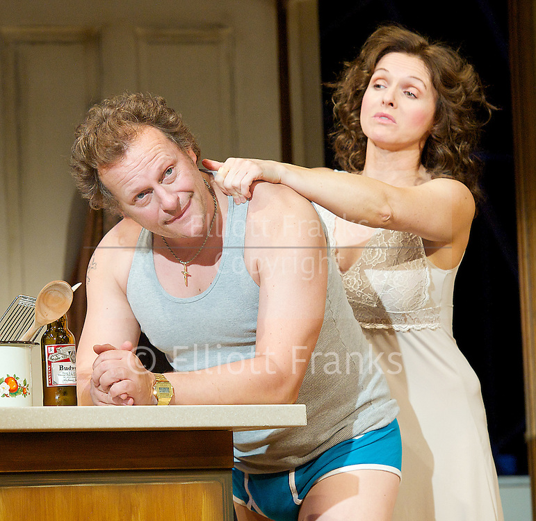 Frankie &amp; Johnny <br /> in the Claire de Lune<br /> by Terrence McNally <br /> directed by Paulette Randall <br /> at the Minerva Theatre, Chichester, Great Britain <br /> press photocall<br /> 11th November 2014 <br /> <br /> Dervla Kirwan as Frankie<br /> <br /> Neil Stuke as Johnny <br /> <br /> Photograph by Elliott Franks <br /> Image licensed to Elliott Franks Photography Services