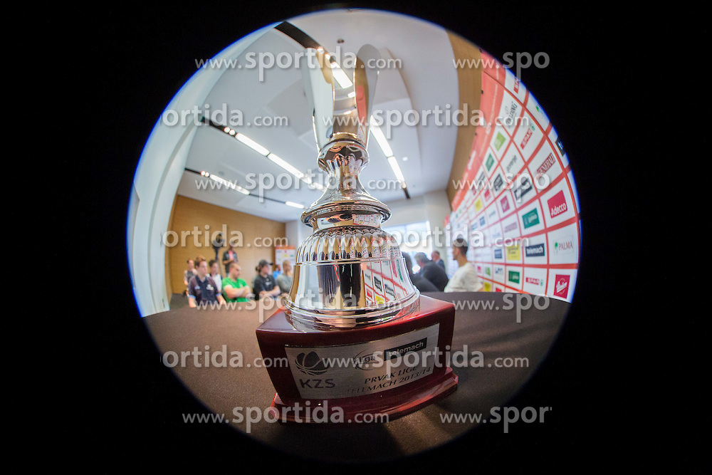Trophy  during press conference before Final matches of Telemach League - Slovenian basketball Championship 2013/14 between KK Krka and KK Union Olimpija on May 20, 2014 in Hotel Plaza, Ljubljana, Slovenia. Photo by Vid Ponikvar / Sportida