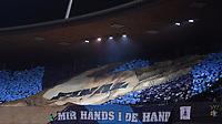 Fussball  Schweizer Cup  2017/18  Halbfinale FC Zuerich - Grasshopper Club Zuerich         28.02.201 Die FCZ in derSuedkurve im Letzigund Stadion mit einer Fanchoreofraphie vor dem Spiel; Final, Mir haends i de Hand