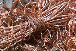 High grade bright copper wire which has been taken out of cables at metal recycling centre,