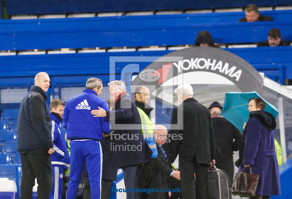 Sir Alex Ferguson (3rd from left) speaks to a Chelsea staff member before leaving the ground after the Barclays Premier League match at Stamford Bridge, London<br /> Picture by Alan Stanford/Focus Images Ltd +44 7915 056117<br /> 07/02/2016