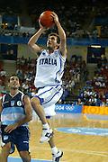 ATENE, 23 AGOSTO 2004<br /> OLIMPIADI ATENE 2004<br /> BASKET<br /> ITALIA - ARGENTINA<br /> NELLA FOTO: GIANMARCO POZZECCO<br /> FOTO CIAMILLO
