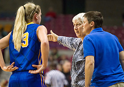 Clay County head coach Mary Ramsey (center) talks with a player during a timeout against Sissonville during a first round game at the Charleston Civic Center.