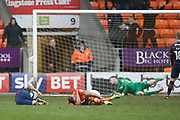 The day just gets worse for Bradford City  as Blackpool's fourth goal goes in 4-0 Bradford City midfielder Romain Vincelot (6) and Blackpool striker Kyle Vassell (7) lie injured during the EFL Sky Bet League 1 match between Blackpool and Bradford City at Bloomfield Road, Blackpool, England on 7 April 2018. Picture by Craig Galloway.