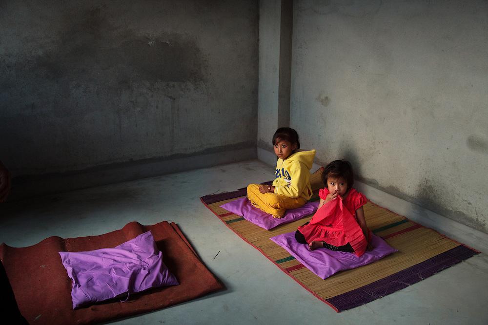 Unika Vajracharya, 6, and Anjila Bajracharya, 4, go through the selection process to determine the next Patan Kumari. Unika was chosen that evening.