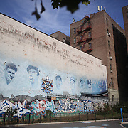 Yankee players murals on a playground wall in the Bronx near Yankee Stadium before the New York Yankees V Baltimore Orioles American League Division Series play-off decider at Yankee Stadium, The Bronx, New York. 12th October 2012. Photo Tim Clayton