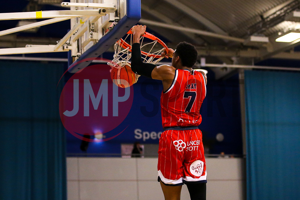 Justin Gray of Bristol Flyers slam dunks - Photo mandatory by-line: Robbie Stephenson/JMP - 29/03/2019 - BASKETBALL - English Institute of Sport - Sheffield, England - Sheffield Sharks v Bristol Flyers - British Basketball League Championship