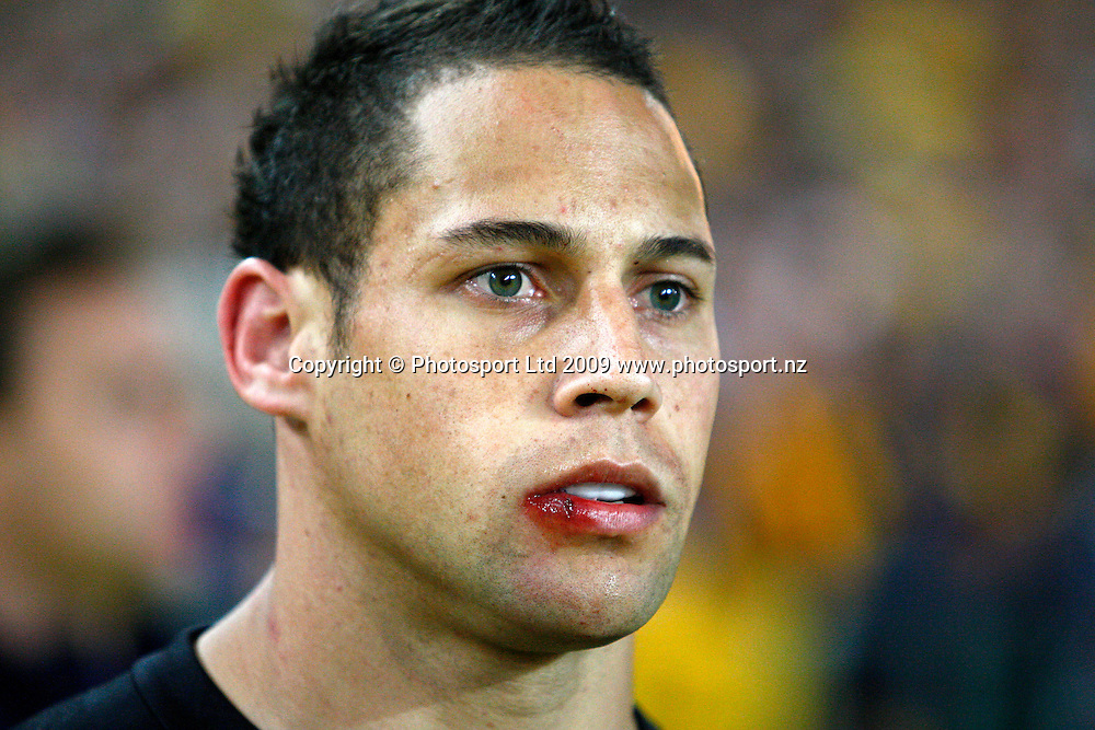 All Black player Luke McAlister. International rugby union test match, Australia Wallabies v New Zealand All Blacks. Investec Tri-Nations, Bledisloe Cup. ANZ Stadium, Sydney, Australia. Saturday 22 August 2009. Photo: Simon Watts/PHOTOSPORT
