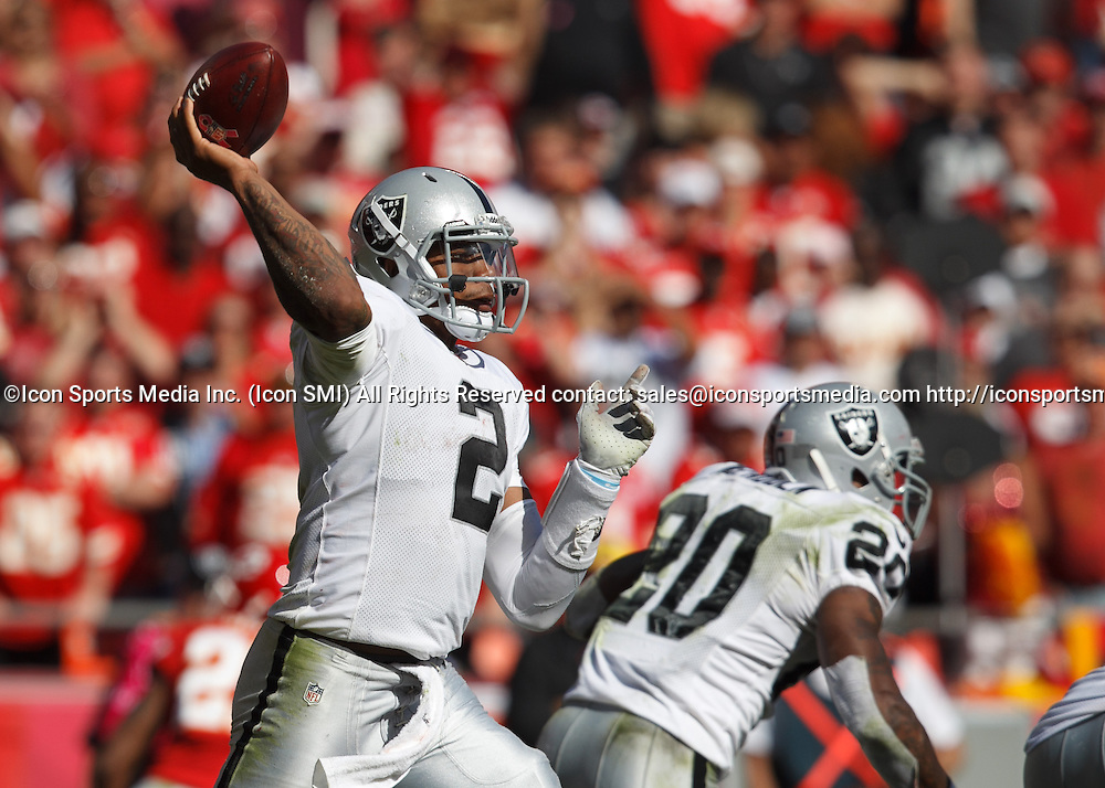 October 13, 2013: Oakland Raiders quarterback Terrelle Pryor (2) throws the ball during the Kansas City Chiefs 24-7 victory over the Oakland Raiders at Arrowhead Stadium in Kansas City, Missouri.
