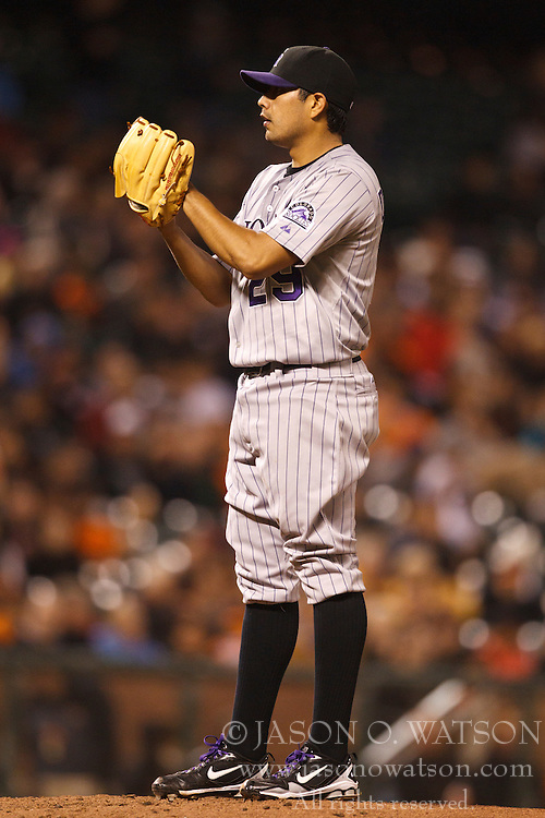 August 30, 2010; San Francisco, CA, USA;  Colorado Rockies starting pitcher Jorge De La Rosa (29) pitches against the San Francisco Giants during the third inning at AT&T Park.