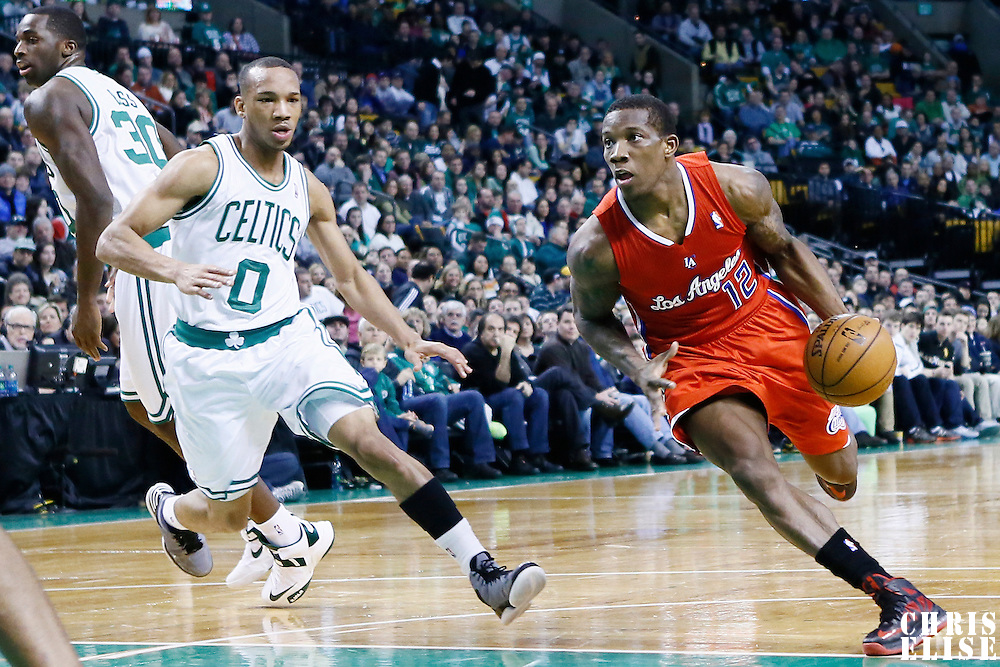 03 February 2013: Los Angeles Clippers point guard Eric Bledsoe (12) drives past Boston Celtics point guard Avery Bradley (0) during the Boston Celtics 106-104 victory over the Los Angeles Clippers at the TD Garden, Boston, Massachusetts, USA.
