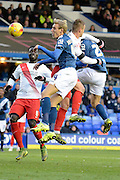 Birmingham City striker Nicolai Brock-Madsen gets in a header during the Sky Bet Championship match between Birmingham City and Charlton Athletic at St Andrews, Birmingham, England on 21 November 2015. Photo by Alan Franklin.