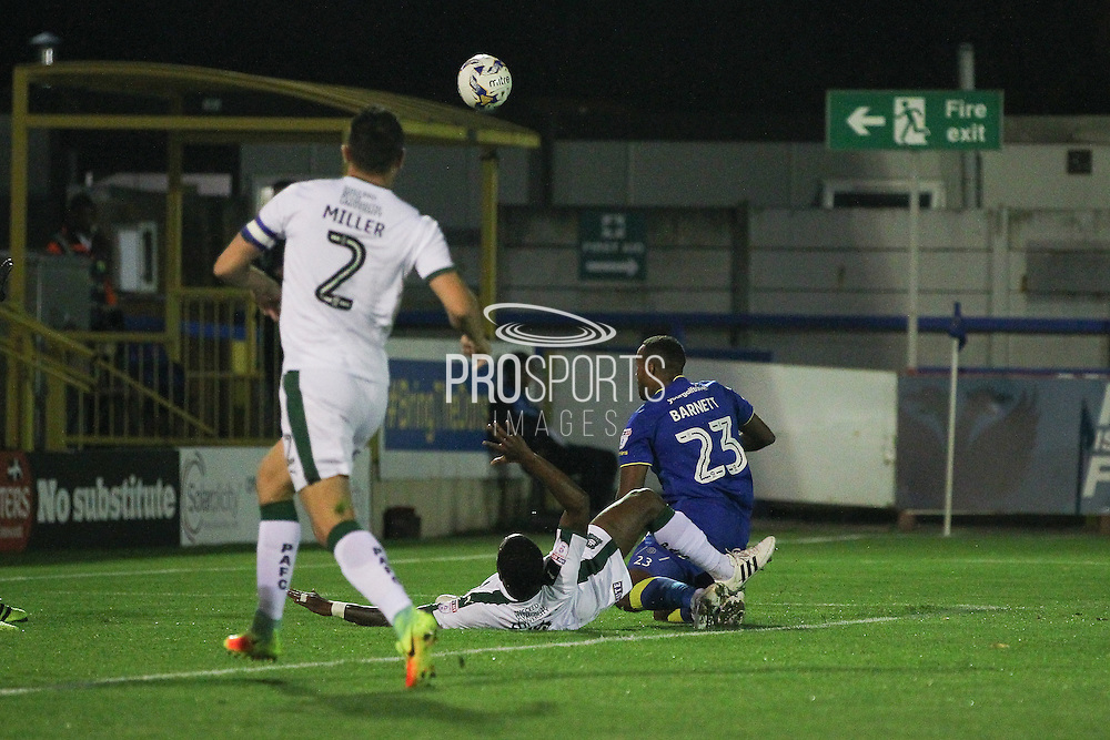 AFC Wimbledon striker Tyrone Barnett (23) during the EFL Trophy match between AFC Wimbledon and Plymouth Argyle at the Cherry Red Records Stadium, Kingston, England on 4 October 2016. Photo by Stuart Butcher.