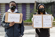 Protesters take part in the Black Lives Matter Protest in Merthyr Tydfil, Wales on 7 June 2020.