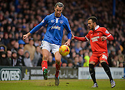 Portsmouth defender Christian Burgess and Leyton Orient Midfielder Calaum Jahraldo-Martin during the Sky Bet League 2 match between Portsmouth and Leyton Orient at Fratton Park, Portsmouth, England on 6 February 2016. Photo by Adam Rivers.