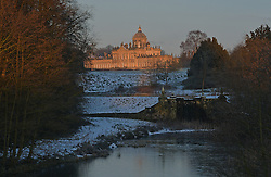 © Licensed to London News Pictures. 16/02/2016. Castle Howard, UK. Castle Howard is bathed in early morning sunshine in North Yorkshire. Photo credit : Anna Gowthorpe/LNP