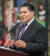 Houston ISD Superintendent Richard Carranza comments during a groundbreaking ceremony at Garden Oaks Montessori, February 17, 2017.