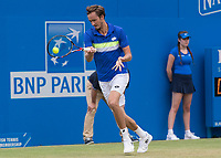 Tennis - 2017 Aegon Championships [Queen's Club Championship] - Day Four, Thursday <br /> <br /> Men's Singles: Round of 16 - Daniil MEDVEDEV (RUS) Vs Thanasi KOKKINAKIS (AUS)<br /> <br /> <br /> Danil Medvedev (RUS) returns serve at Queens Club<br /> <br /> COLORSPORT/DANIEL BEARHAM