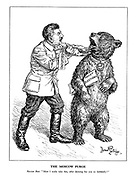 "The Moscow Purge. Russian Bear. ""Must I really take this, after dancing for you so faithfully?"" (A trained Russian bear complains at being force fed the Executions medicine by Stalin while holding the Soviet Elections)"