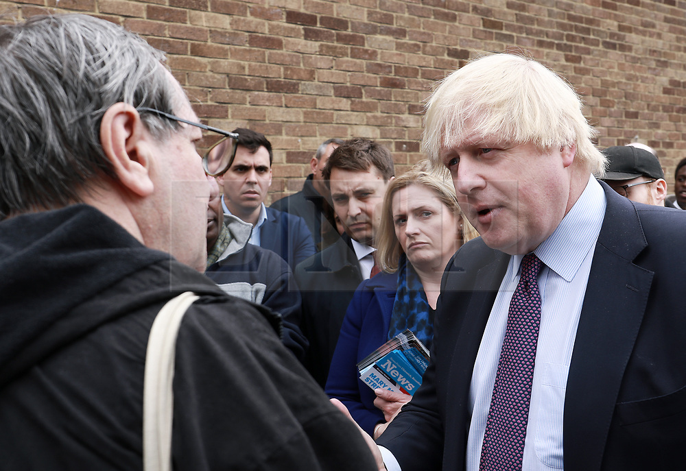© Licensed to London News Pictures. 19/05/2017. London, UK, Boris Johnson - 2017 General Election campaign, Photo credit: Tejas Sandhu/LNP © Licensed to London News Pictures. 19/05/2017. London, UK, Foreign Secretary Boris Johnson campaigns in Hounslow High Street, West London in the 2017 General Election. Photo credit: Tejas Sandhu/LNP