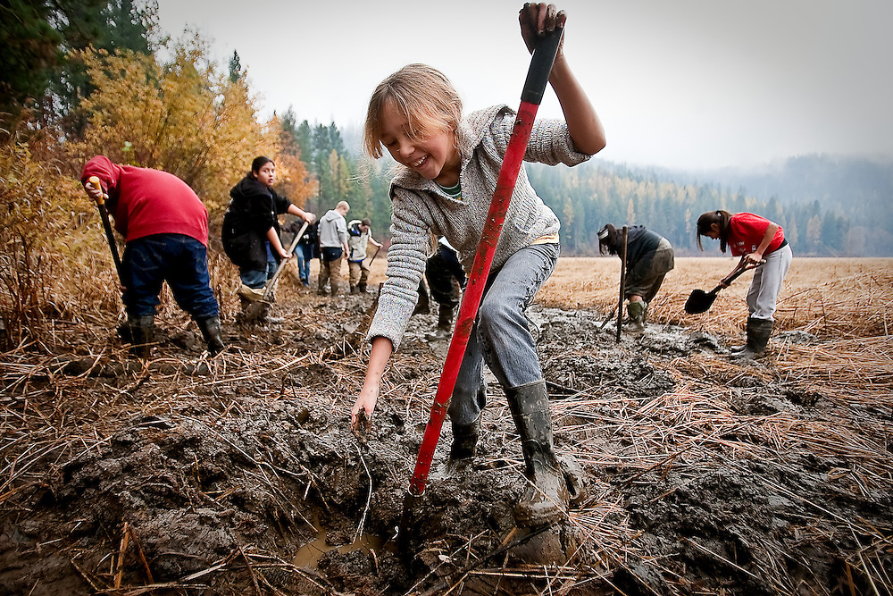 JEROME A. POLLOS/Press..Crystal Weston, 10, reaches down to search for a water potato in a hole she dug Friday along the shoreline of Coeur d'Alene Lake during the Water Potato Day harvest.