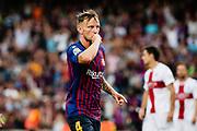 Ivan Rakitic of FC Barcelona celebrates his goal during the Spanish championship La Liga football match between FC Barcelona and Huesca on September 2, 2018 at Camp Nou Stadium in Barcelona, Spain - Photo Xavier Bonilla / Spain ProSportsImages / DPPI / ProSportsImages / DPPI