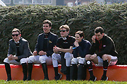 Jockeys enjoying a seat at The Chair jump befor the Grand  National Meeting at Aintree, Liverpool, United Kingdom on 6 April 2019.