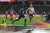 Athletics - 2017 IAAF London World Athletics Championships - Day Six<br /> <br /> Men's 400m hurdles Final<br /> <br /> Karsten Warholm of Norway comes home to win the Gold medal, at the London Stadium.<br /> <br /> COLORSPORT/ANDREW COWIE
